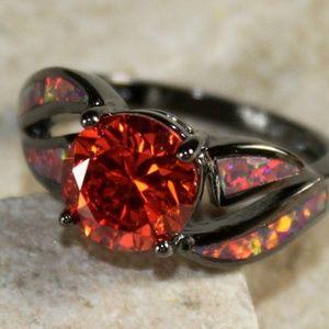 Jewelry - Orange Fire Opal Black Ring